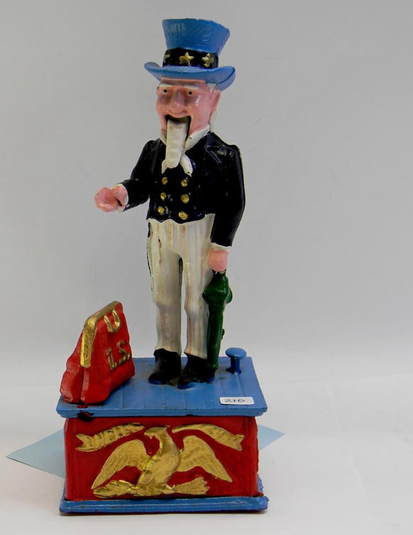 Mechanical Coin Bank, Uncle Sam, Cast Iron - Roadshow Collectibles