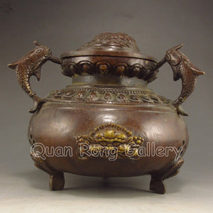 Three-legged Chinese Bronze Incense Burner Carved Fortune Beast - Roadshow Collectibles