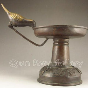 Chinese Candlestick Holder, Bronze, Bird Feeding Used As a Handle - Roadshow Collectibles