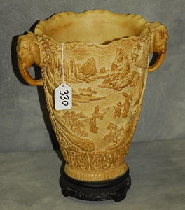 Chinese Vase, Ivory Coloured, Mountainous Scene Homes Figures, Handles - Roadshow Collectibles