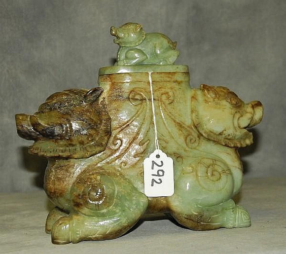 Tank Pot Bottled Vase, Pixiu Creatures, Hand Carved In Jade, Chinese - Roadshow Collectibles
