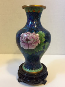Cloisonne Vase and Base, Beautiful Colours and Detailed Workmanship - Roadshow Collectibles