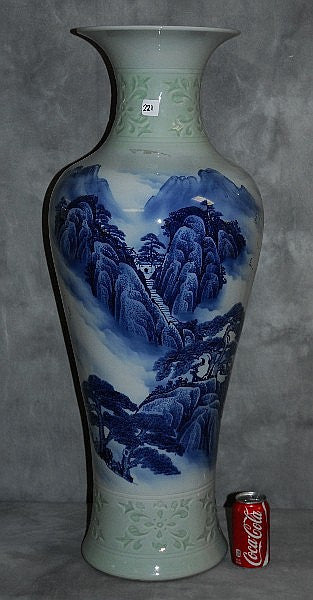 Chinese Porcelain Vase Blue & White, Staircase, House, and 2 Mountains - Roadshow Collectibles