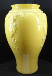 Mustard Yellow Glass Vase, Majestic Overlay Of Leaves Vines & Flowers - Roadshow Collectibles