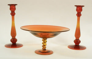 Art Glass Pedestal Dish and Matching Candlestick Holders, Orange - Roadshow Collectibles