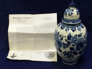 Royal Delft Porcelain Jar, Blue & White Floral Pattern Made In Holland - Roadshow Collectibles