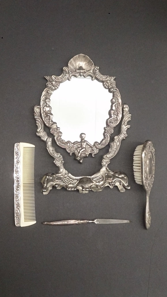 Victorian Dresser Vanity Mirror Set, Silver Plated - Roadshow Collectibles