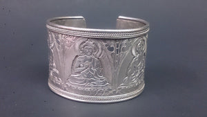 Tibetan Sterling Silver Cuff Bracelet Hand Made Image Of Padmasambhava - Roadshow Collectibles