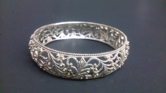 Sterling Silver 925, Filigree Bangle Bracelet, Scroll Pattern Design - Roadshow Collectibles