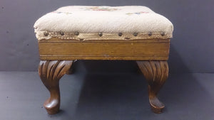 Queen Ann Footstool, Cabriole Style Legs, Floral Fabric, Early 1900's - Roadshow Collectibles