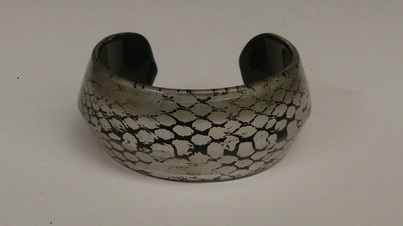 Designer Glass Cuff Bracelet, Snake Skin Design, Two Tone - Roadshow Collectibles