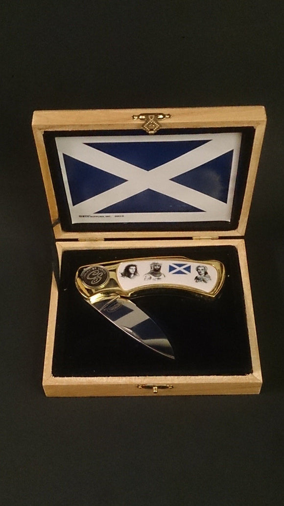Pocket Folding Knife Stainless Steel, Collector Series Scottish Hero's - Roadshow Collectibles