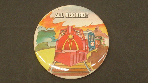 1983 McDonald's Happy Meal Junction 'All Aboard' Crew Pin - Roadshow Collectibles