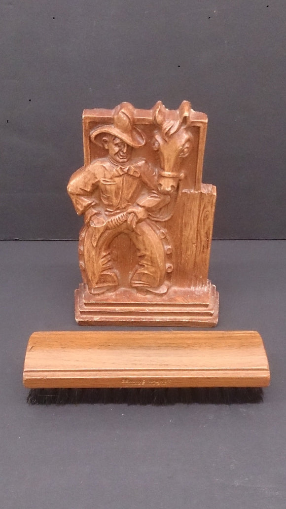 Cowboy & Horse Boot Or Shoe Polish Brush Holder, Hand Carved, Walnut - Roadshow Collectibles