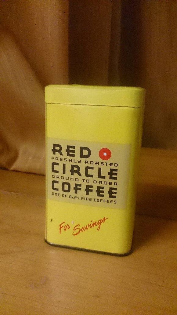Red Circle Coffee Still Bank Tin Litho RED Roasted CIRCLE COFFEE A&P's - Roadshow Collectibles