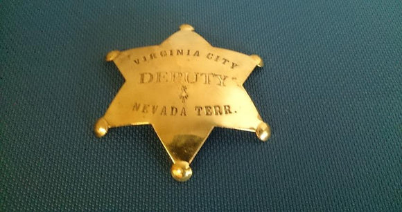 Virginia City Deputy Nevada Territory Badge, Brass, Reversed Embossed - Roadshow Collectibles