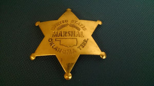 United States Marshal Oklahoma Terr Badge, Brass, Reversed Embossed - Roadshow Collectibles