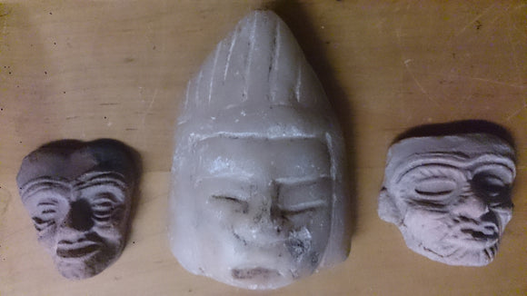 Masks, Miniature, Set Of Three, Clay, Handmade - Roadshow Collectibles