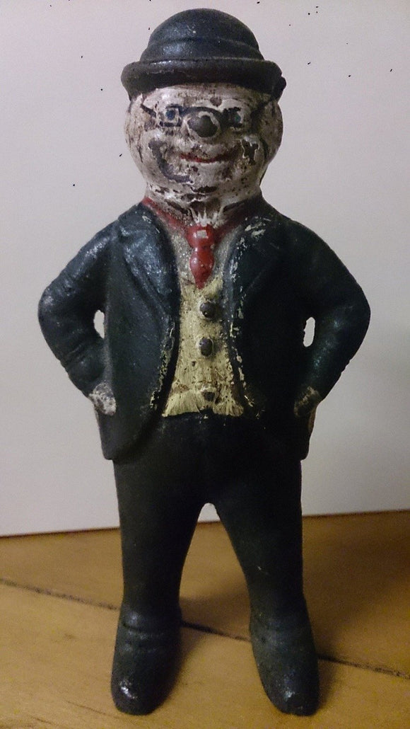 Hubley Foxy Grandpa Coin Bank, Cast Iron, Suit Tie Glasses Bowler Hat - Roadshow Collectibles