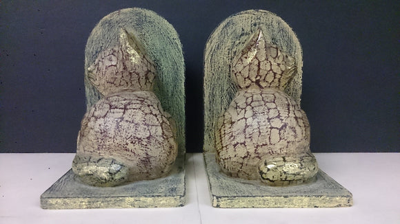 Pair of Wooden Bookends Depicting Cats