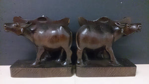 Bookends, a Pair, Wooden, Depicting Water Oxen - Roadshow Collectibles