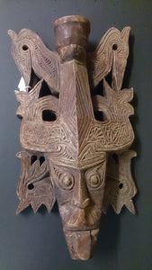 Hawaiian Polynesian Tiki Tongue Mask Hand Carved Decorative Wall Mask - Roadshow Collectibles