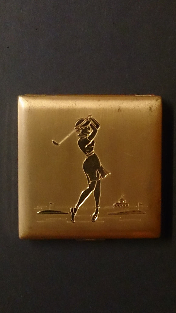 Vintage Golf Themed Cigarette Case with an Image of a Female Golfer Finishing Her Stroke, inside Case Inscribed Majestic U.S.A - Roadshow Collectibles