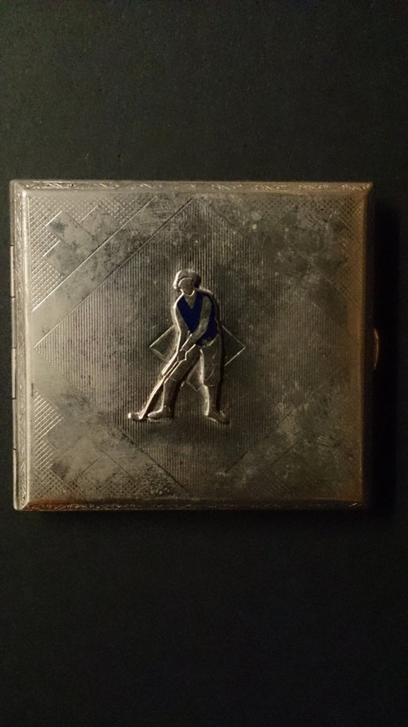 Cigarette Case, Golf Themed, Embossed Image Of Male Golfer - Roadshow Collectibles