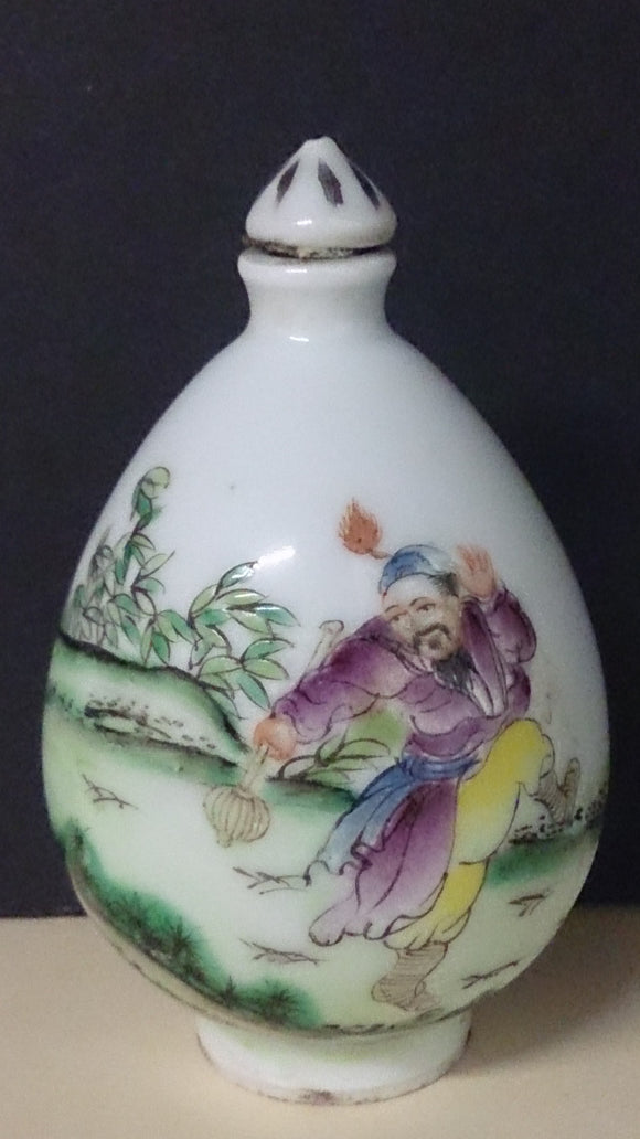 Snuff Bottle Porcelain Hand Painted Landscape Asian Man Dancing Chinese - Roadshow Collectibles