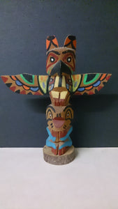Native American Miniature Totem Pole, Hand Carved and Painted - Roadshow Collectibles