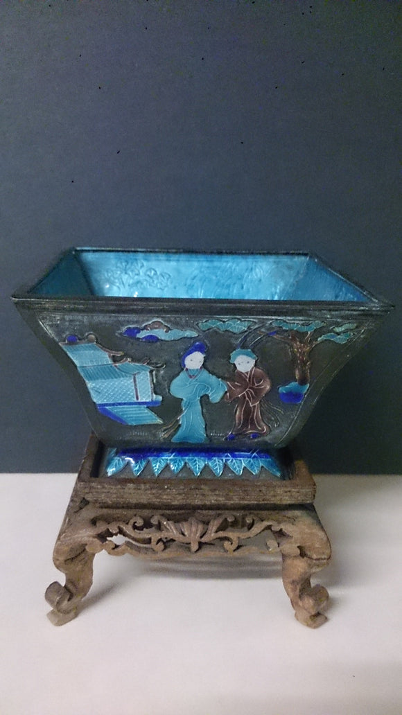 Chinese Brass Bowl Enamelled, 19th Century Square Shaped Figure Scenes - Roadshow Collectibles
