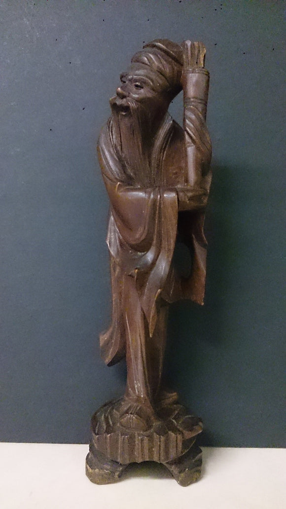 Older Asian Man, Hand Carved, Holding Up a Carrying Basket Of Sticks - Roadshow Collectibles