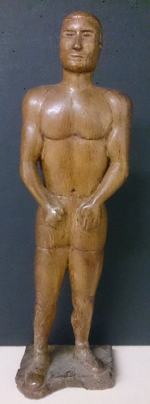 Hand Carved Wooden Figure of a Bare-Fisted Boxer - Roadshow Collectibles
