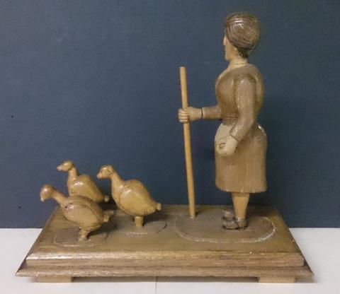 Wood Hand Carving of a Woman Walking Her Ducks - Roadshow Collectibles