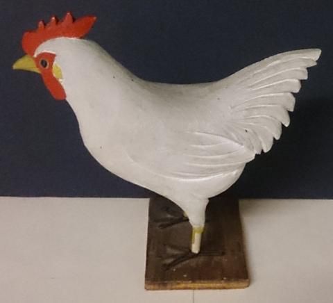 Wood Hand Carving of a White Chicken, When Pushed Rocks Back and Forth - Roadshow Collectibles