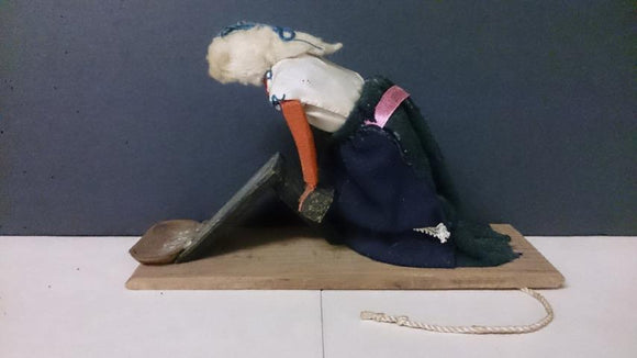 Doll Primitive Hand-Made, Pull Action Of Woman Using Clothes Scrubber - Roadshow Collectibles