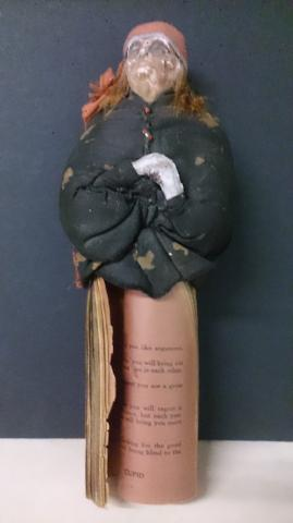 Doll Primitive, Hand Made With Cloth, Clay, Hair, And A Booklet - Roadshow Collectibles