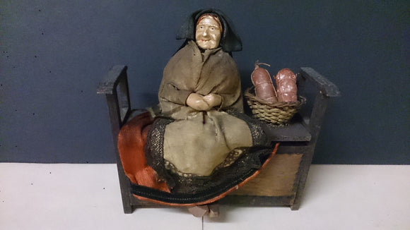 Hand Made/Cloth and Clay Doll/Older Woman Sitting On a Bench/Basket - Roadshow Collectibles