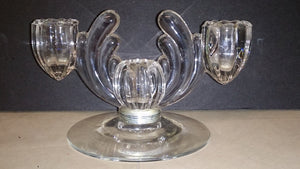 Heisey Dual Light Glass Domed Candlestick Holder - Roadshow Collectibles