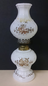 Milk White Glass Oil Lamp with Floral Detailing - Roadshow Collectibles