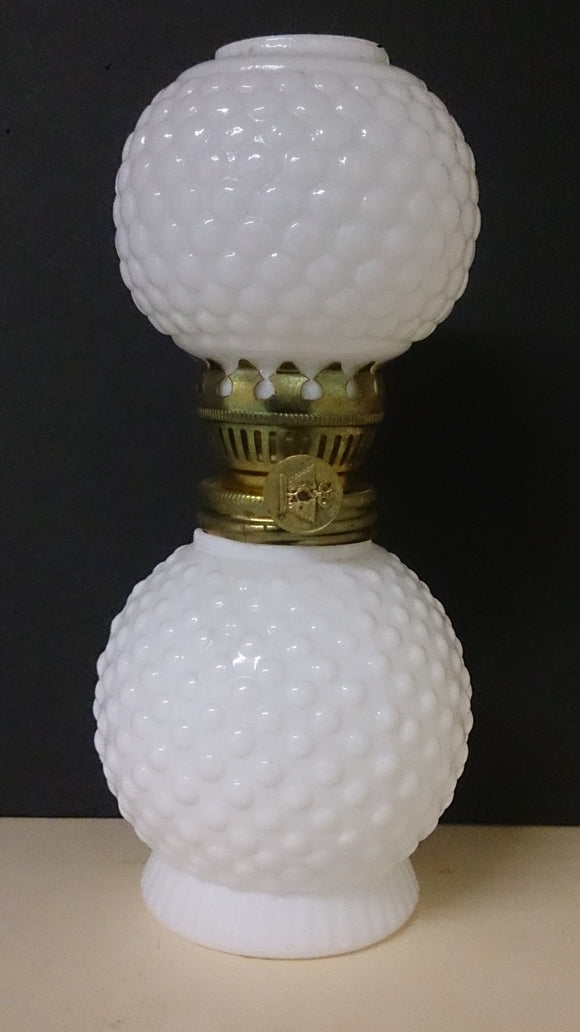Vintage Milk White Glass Oil Lamp with Two Golf Ball-like Patterns - Roadshow Collectibles