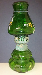 Green Glass Oil Lamp Font & Chimney Mould-Blown Hand Painted Flowers - Roadshow Collectibles