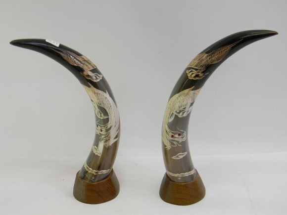 Buffalo Horns, a Pair, Hand Etched, Decorated with Dragons - Roadshow Collectibles
