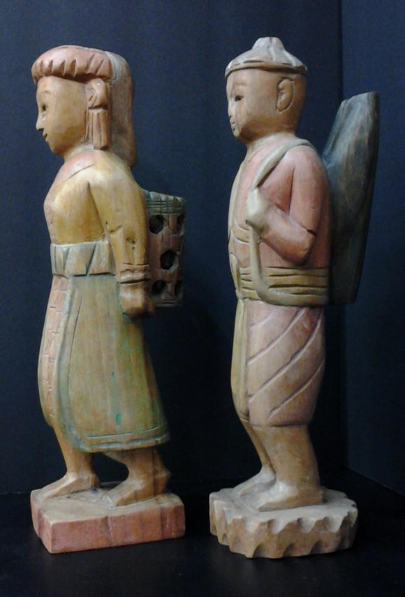 Asian Hand Carved Statuettes Polychrome Male & Female Carrying Parcels - Roadshow Collectibles