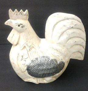 French Country, Rustic Wood Handcrafted White Chicken - Roadshow Collectibles