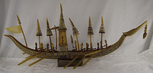 Burmese Hand Carved Ox Bone Boat with a Group Of Oarsman Rowing - Roadshow Collectibles