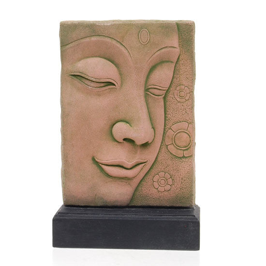 Buddha Face with Base, Hand Cast Sandstone - Roadshow Collectibles