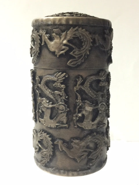 Snuff Container Lidded, Silver Handmade, Dragon Motifs Chinese Tibetan - Roadshow Collectibles