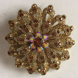Flower Brooch, Crystal Rhinestones, Smoked Topaz, Light Silk & Fuchsia - Roadshow Collectibles