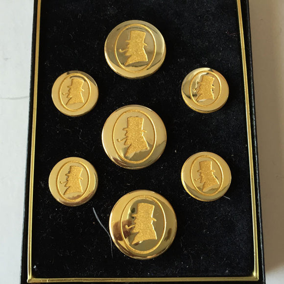 H. Simmons Signed Gold Round Buttons/Seven/Original Black Leather Box - Roadshow Collectibles